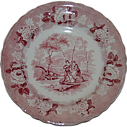 """SALE c 1825 Ralph Stevenson """"Pastoral""""  Red Antique Transferware Plate with Fisherma"""