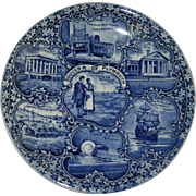SALE Plymouth, Massachusetts Staffordshire Blue and White Historical Plate