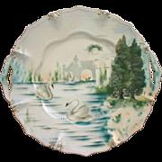 SALE RS Prussia Cake Plate, Swans & Gazebo in Beautiful Landscape