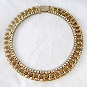 REDUCED Beautiful Jewels By Julio Mesh and Rhinestone Choker Necklace