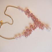 Vintage Robert Rose Pink AB Necklace