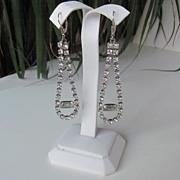 Long Vintage Sterling Dangle Clear Rhinestones Earrings