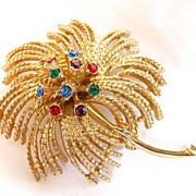 Large Sarah Coventry Brooch Pin with Rhinestones