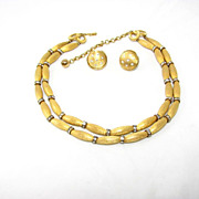REDUCED Dazzling Gold Tone and Rhinestone Necklace and Earrings Set