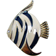 Lovely Enameled Figural Fish Brooch Pin