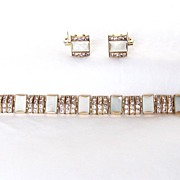 REDUCED Beautiful Vintage signed DoSo Demi Parure Rhinestones & MOP