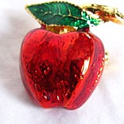 Vintage Red and Green Enamel Apple Brooch Pin