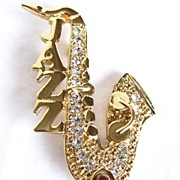 Vintage Jazz Saxophone with Rhinestones Brooch Pin
