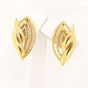 Vintage Trifari Gold Tone Earrings