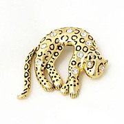 REDUCED Lovely Figural Leopard Brooch with Moving Tail and Rhinestone