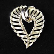 REDUCED Crown Trifari Silver Tone Heart Brooch Pin
