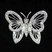 REDUCED Dazzling Butterfly Brooch Pin with Rhinestones signed Roman