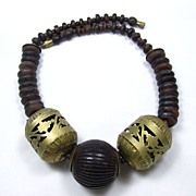 Bold Wood Beads and Copper Necklace