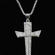 Vintage Sterling Silver Cross Pendant and Chain