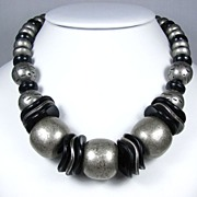 REDUCED Vintage Bold Black and Grey Plastic Bead Necklace