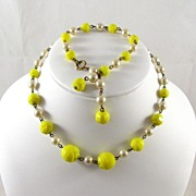 Superb Vintage Faceted Yellow Tulip Glass Necklace and Bracelet