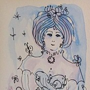 REDUCED Carole Rosefelt Gorgeous Watercolor Portrait by American Artist