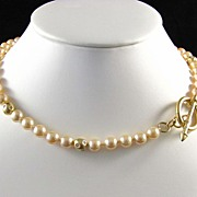 Superb Faux Glass Pearl and Rhinestone Toggle Necklace