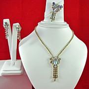 Vintage AB Rhinestones Necklace Brooch and Earrings Set