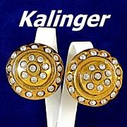 REDUCED Kalinger Paris Bold Rhinestone Dome Gold Tone Earrings