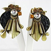 Large Designer Luigi Briglia Rhinestone Earrings