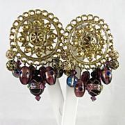 Bold Glass Bead and Rhinestone Dangle Earrings