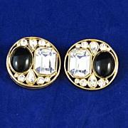 Bold Jet Black Glass and Rhinestone Earrings