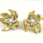 Large Vintage Flower with Rhinestone & Faux Pearl Earrings