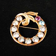 REDUCED Beautiful Van Dell 12KT Gold Filled and Rhinestones Circle Pin