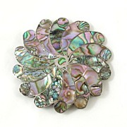Large Sterling Mexico Taxco & Inlaid Abalone Flower Brooch Pin