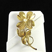 HSB Harry S. Bick & Sons 1/20 12K GF & Pearl Flower Brooch Pin