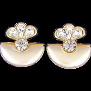 REDUCED Vintage Large Rhinestone & Faux Pearl Dangle Earrings