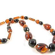 Bold Cognac & Jet Black Lucite Beads Long Necklace
