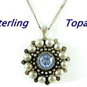 Vintage Sterling Silver & Topaz Brooch Pendant Necklace