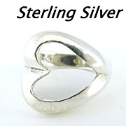 Lovely Sterling Silver Heart Ring Size 7