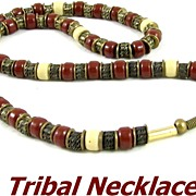 REDUCED Vintage Tribal Stone Barrel Beads & Copper Necklace