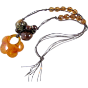 REDUCED Vintage Amber Confetti Lucite Necklace