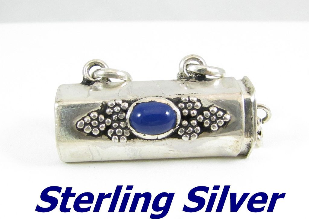 Vintage Sterling Silver with Blue Stone Locket