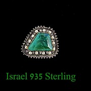 Vintage Israel 935 Sterling Silver & Malachite Brooch Pendant