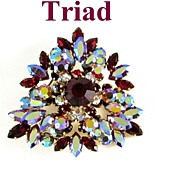 REDUCED Dazzling Triad Layered Red Siam & AB Rhinestone Brooch