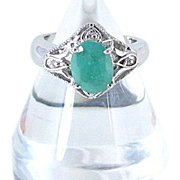 REDUCED Vintage Emerald and Sterling Silver Ring Size 7.5