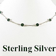REDUCED Vintage Sterling Silver Linked Necklace with Green Stones