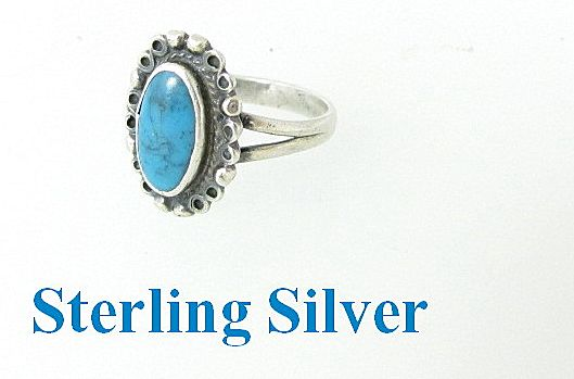 Sterling Silver & Turquoise Ring Size 7