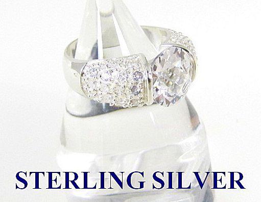 Huge Sterling Silver Cocktail Engagement Ring Size 8.5