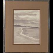 Hugues De Jouvancourt (1918-1978) Rare Watercolor by Listed Artist