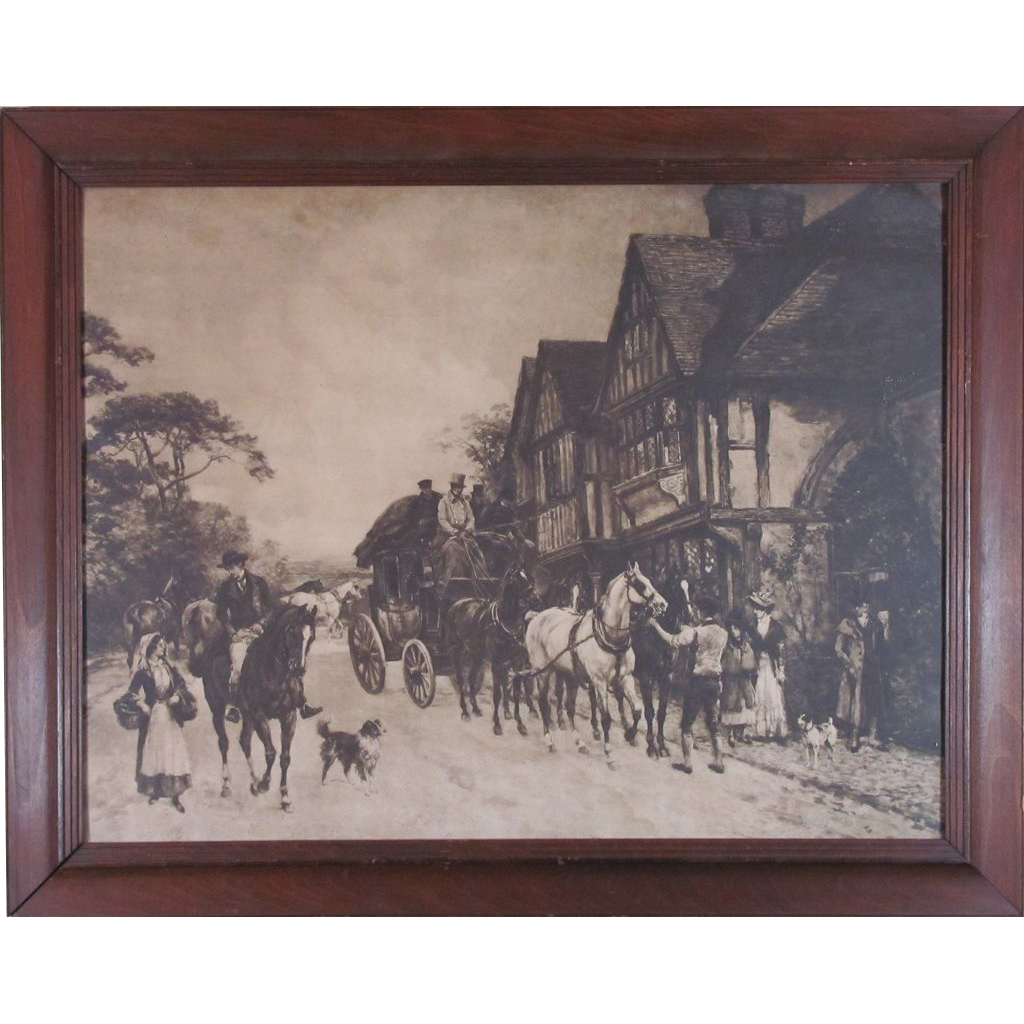 Gorgeous Antique Black and White Lithograph of a Coaching Inn