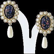 Runway Vintage Faux Pearl Opal Glass Dangle Clip Earrings