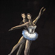 REDUCED Superb Vintage Painting on Velvet of a Couple Ballet Dancing