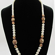 REDUCED Pretty Faux Pearl and Decorated Red Wood Beads Necklace