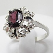 SOLD Superb Vintage Silver Sterling Ring With Zircon Size 9